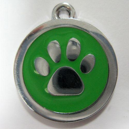 金屬-綠色狗掌形狀寵物牌